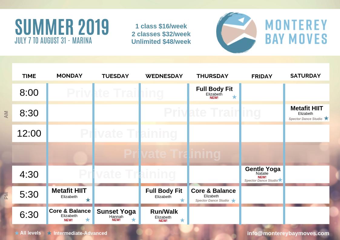 Monterey Bay Moves Summer Schedule